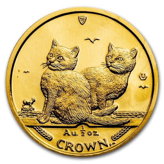 2003 Isle of Man 1/2 oz Gold Balinese Kittens Cat BU
