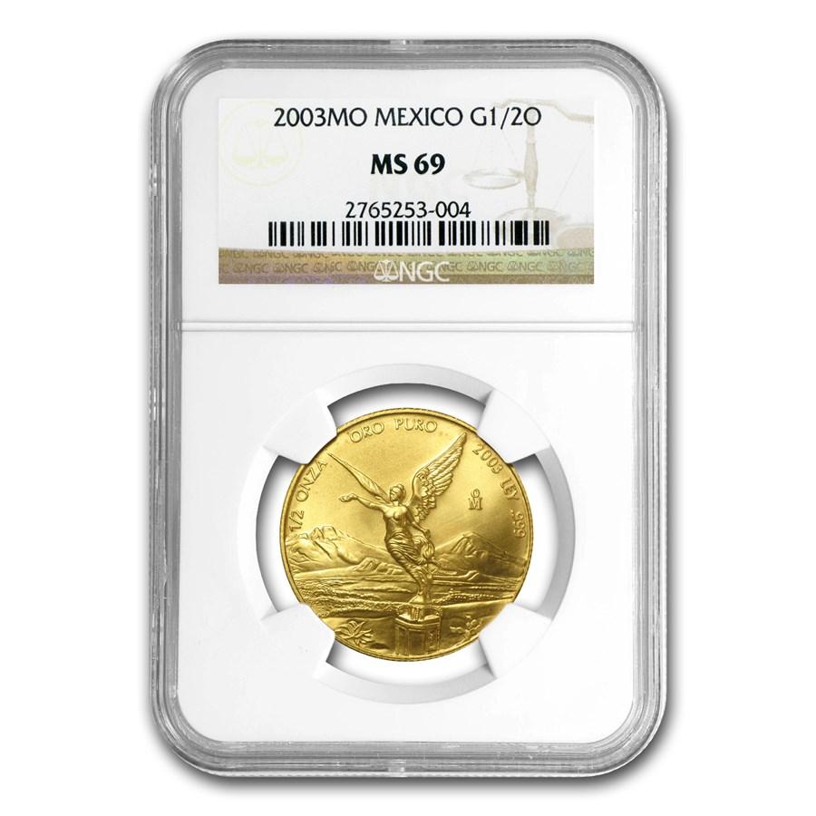 2003 Mexico 1/2 oz Gold Libertad MS-69 NGC