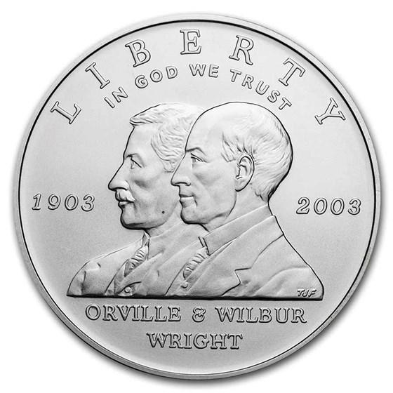 2003-P First Flight Centennial $1 Silver Commem BU (Capsule only)