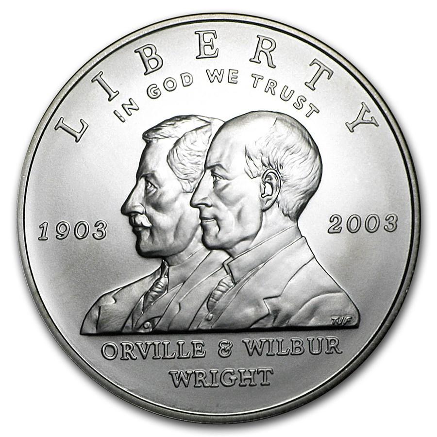 2003-P First Flight Centennial $1 Silver Commem BU (w/Box & COA)