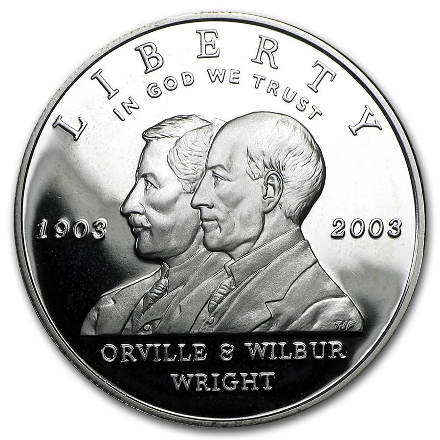 2003-P First Flight Centennial $1 Silver Commem Prf (w/Box & COA)