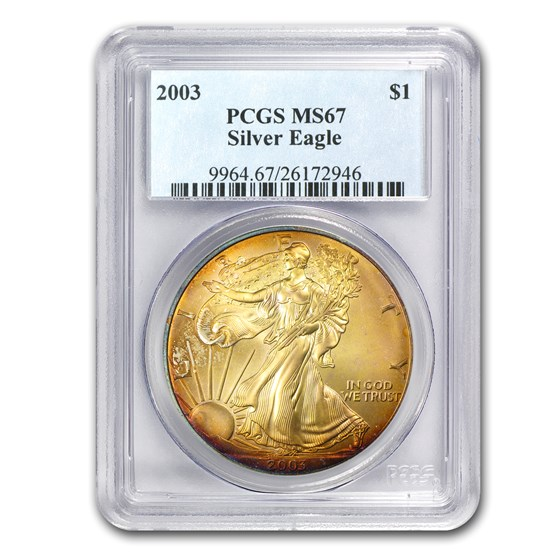 2003 Silver American Eagle MS-67 PCGS (Toned)