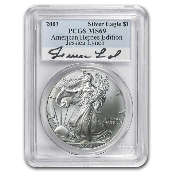 2003 Silver American Eagle MS-69 PCGS (Jessica Lynch)