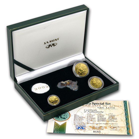 2003 South Africa 3-Coin Gold Natura Lion Prestige Proof Set