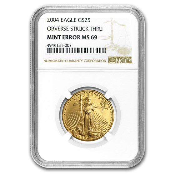 2004 1/2 oz American Gold Eagle MS-69 NGC (Obv Mint Error)