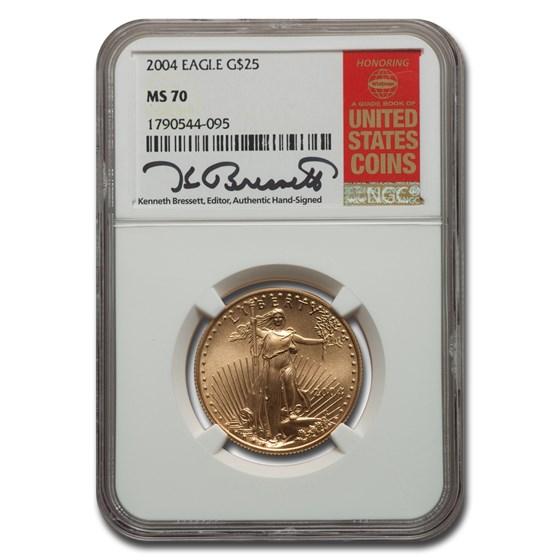 2004 1/2 oz American Gold Eagle MS-70 NGC (Bressett)