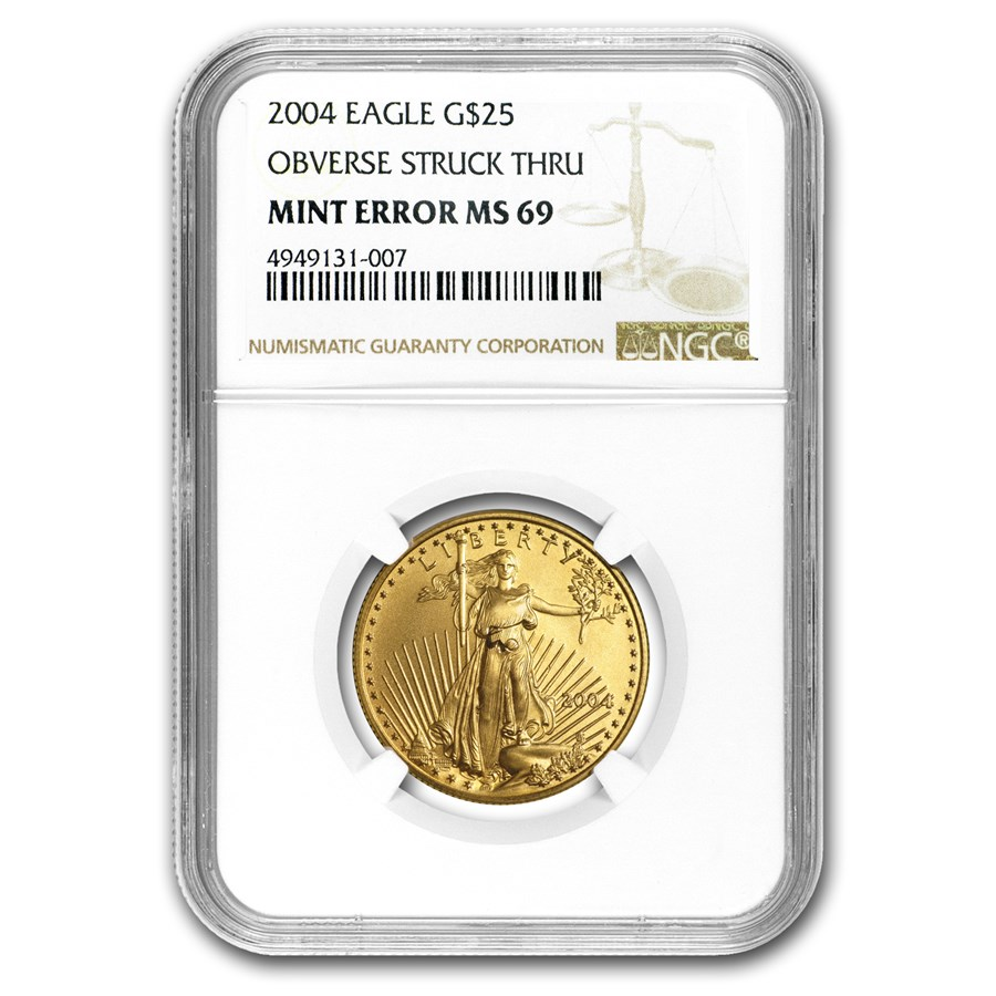 2004 1/2 oz Gold American Eagle MS-69 NGC (Obv Mint Error)