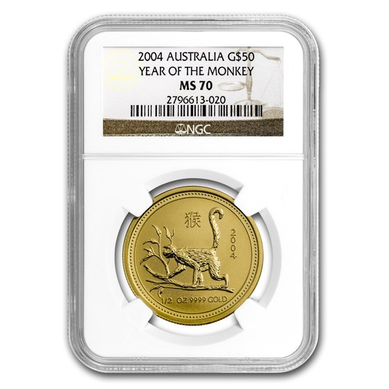 2004 1/2 oz Gold Lunar Year of the Monkey MS-70 NGC (Series I)
