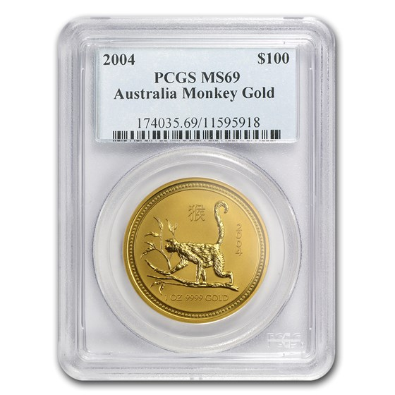2004 1 oz Gold Lunar Year of the Monkey MS-69 PCGS (Series I)