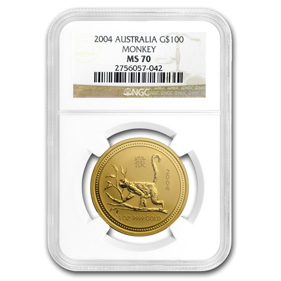 2004 1 oz Gold Lunar Year of the Monkey MS-70 NGC (Series 1)