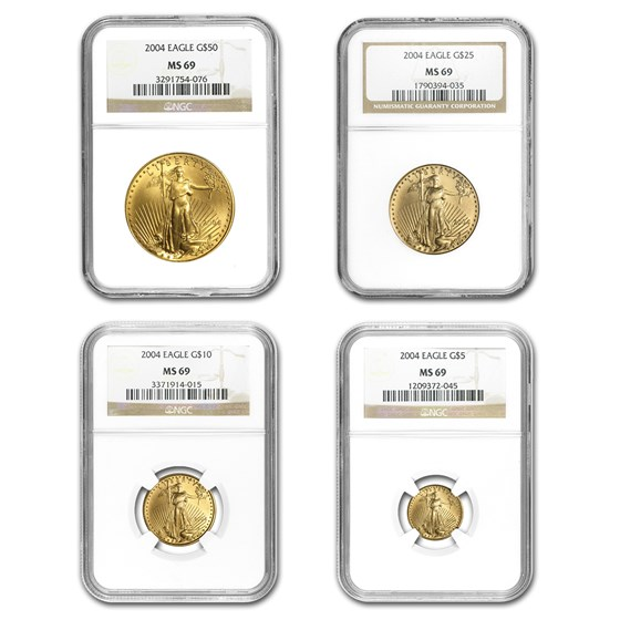 2004 4-Coin Gold American Eagle Set MS-69 NGC