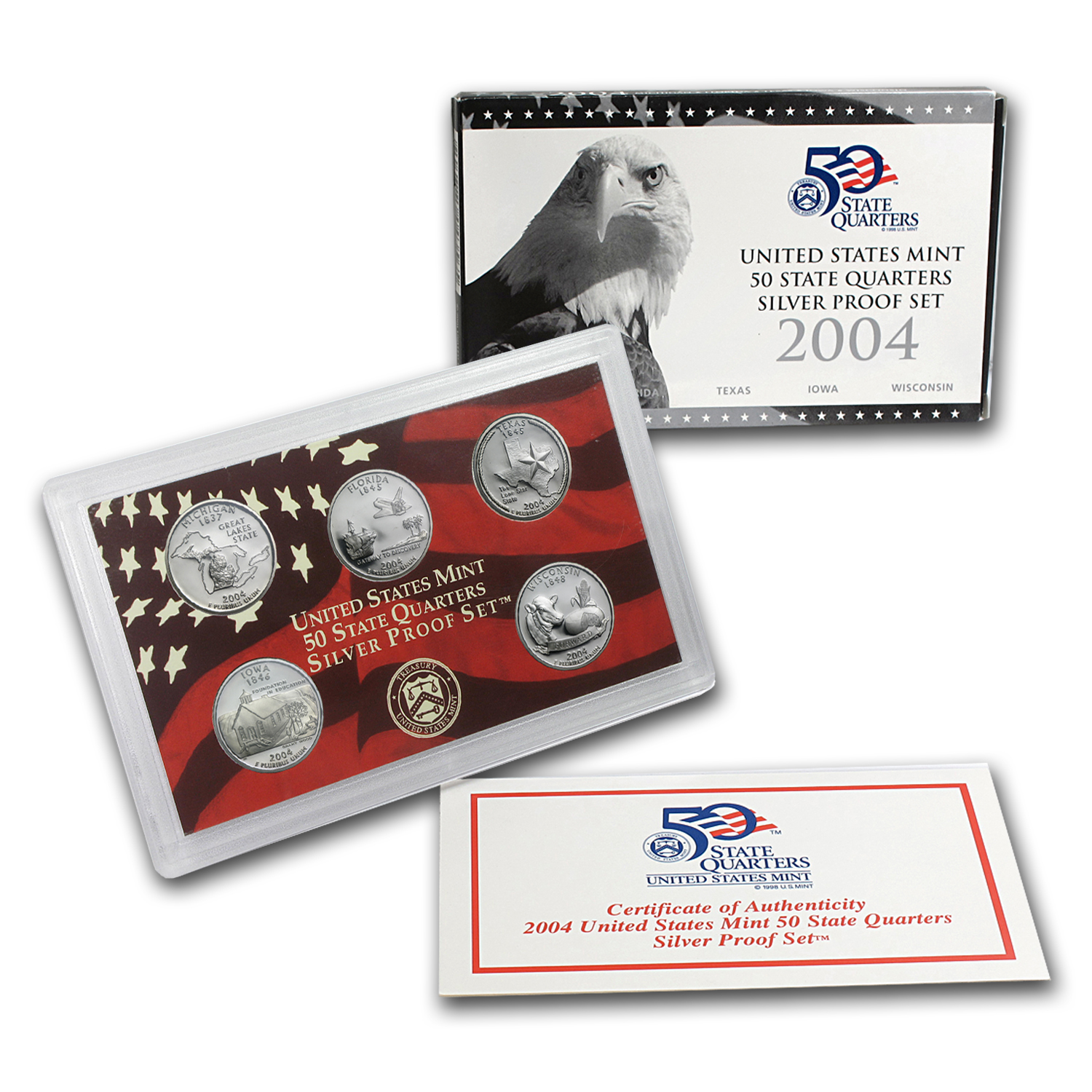 2004-2009 U.S Mint State Quarters Silver Proof Sets