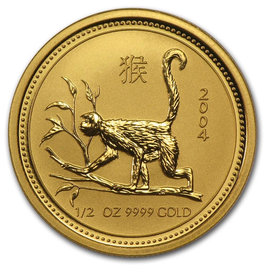 2004 Australia 1/2 oz Gold Lunar Monkey BU (Series I)