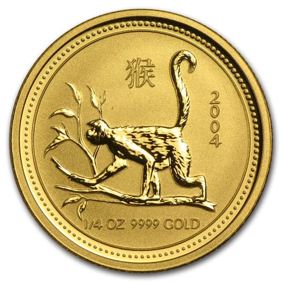2004 Australia 1/4 oz Gold Lunar Monkey BU (Series I)