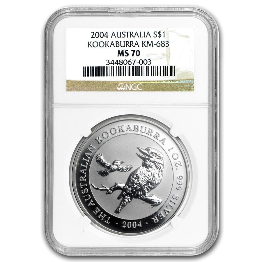 2004 Australia 1 oz Silver Kookaburra MS-70 NGC
