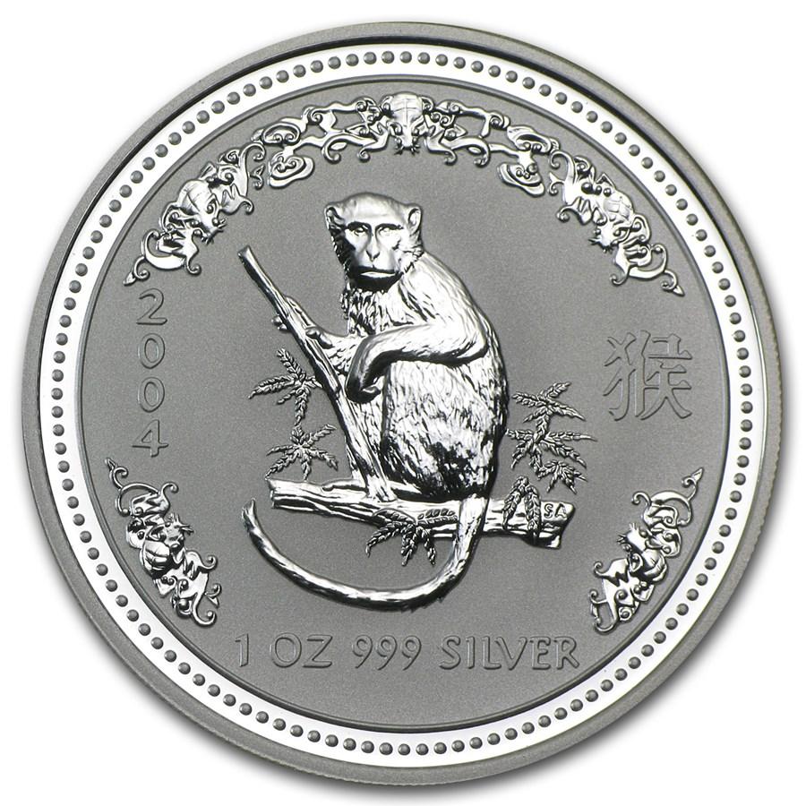 2004 Australia 1 oz Silver Year of the Monkey BU (Series I)