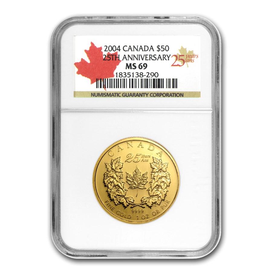 2004 Canada 1 oz Gold Maple Leaf MS-69 NGC (25th Anniv)