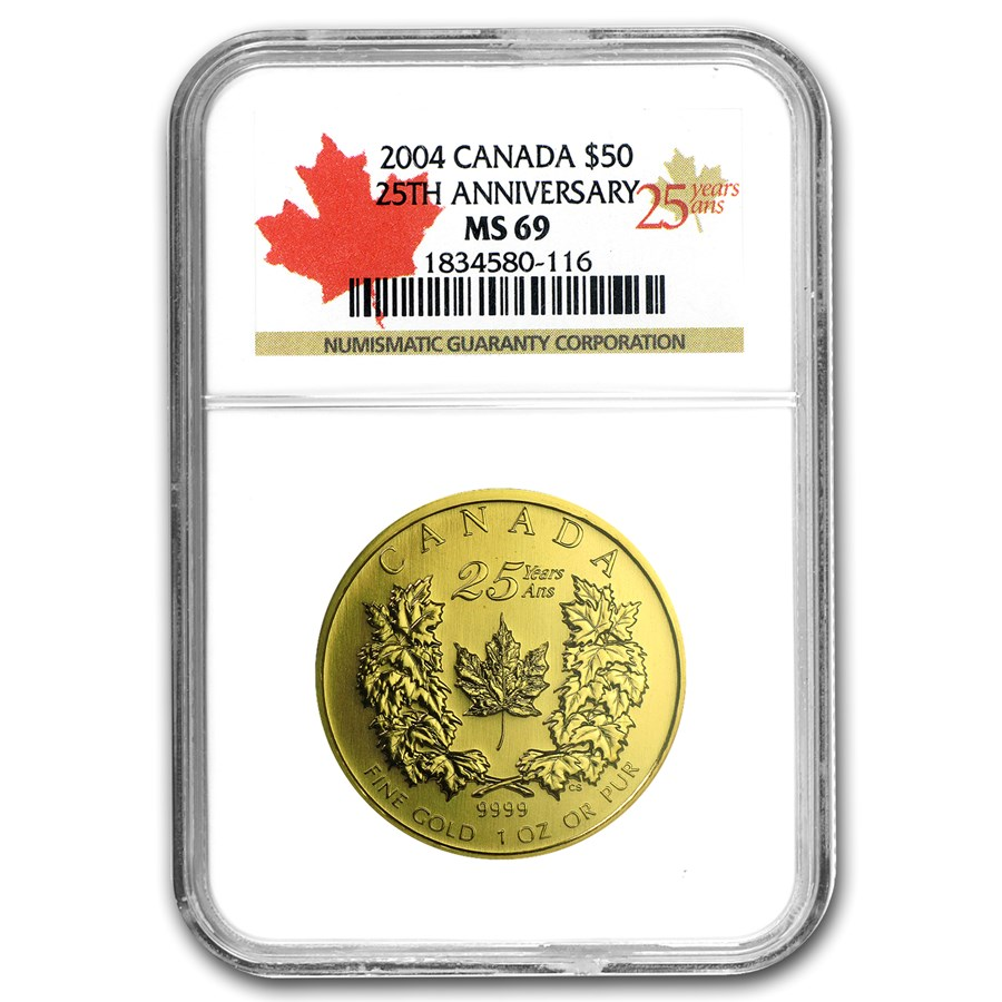 2004 Canada 1 oz Gold Maple Leaf MS-69 NGC (FS, 25th Anniv)