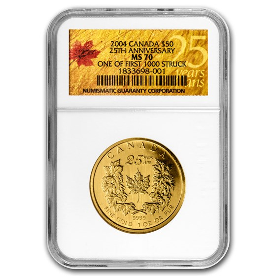 2004 Canada 1 oz Gold Maple Leaf MS-70 NGC (First 1000 Struck)