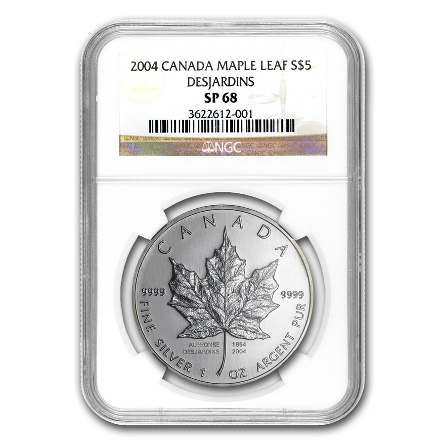 2004 Canada 1 oz Silver Maple Leaf Desjardins Privy SP-68 NGC