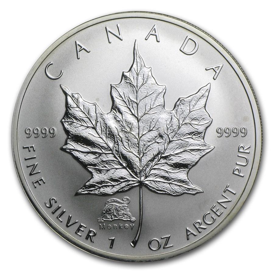 2004 Canada 1 oz Silver Maple Leaf Lunar Monkey Privy