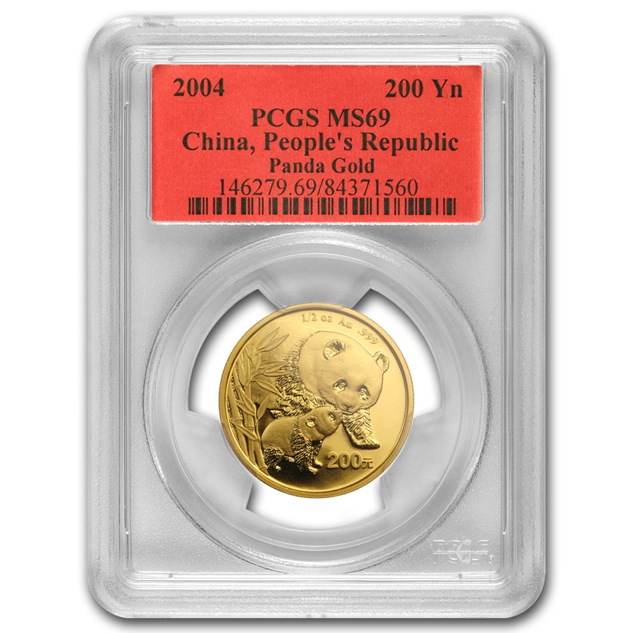 2004 China 1/2 oz Gold Panda MS-69 PCGS