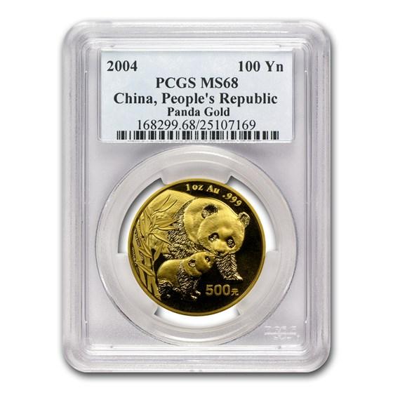 2004 China 1 oz Gold Panda MS-68 PCGS