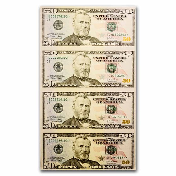 2004* (G-Chicago) $50 FRN CU (Fr#2128-G*) Uncut Sheet Star Note