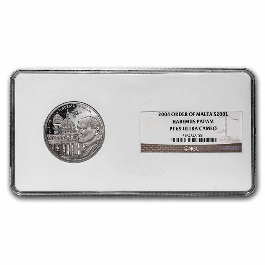 2004 Malta Habemus Papam Silver 200 Liras PF-69 UCAM NGC