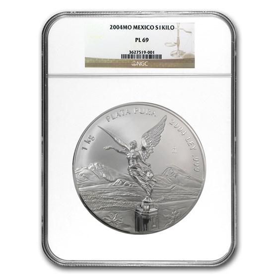 2004 Mexico 1 kilo Silver Libertad PL-69 NGC