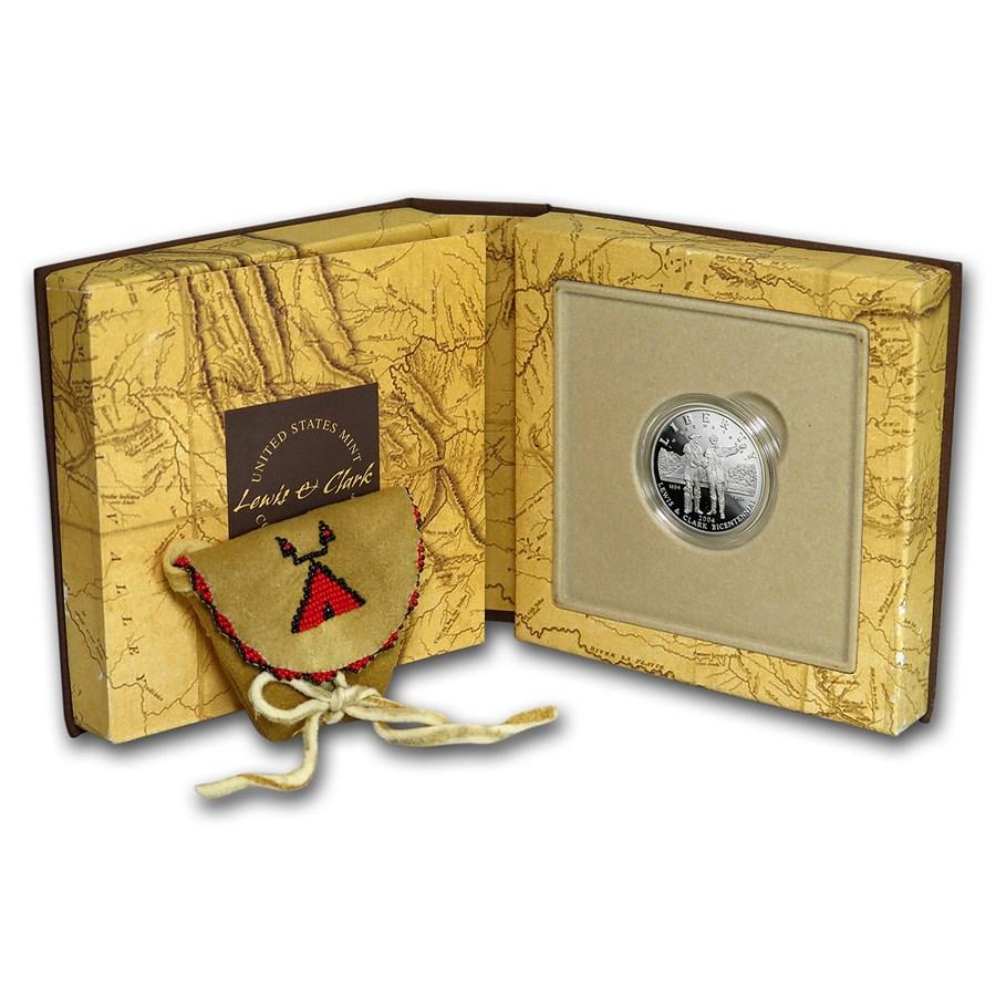 2004-P Lewis & Clark $1 Silver Commem Coin/Pouch Pf Set (Box/COA)