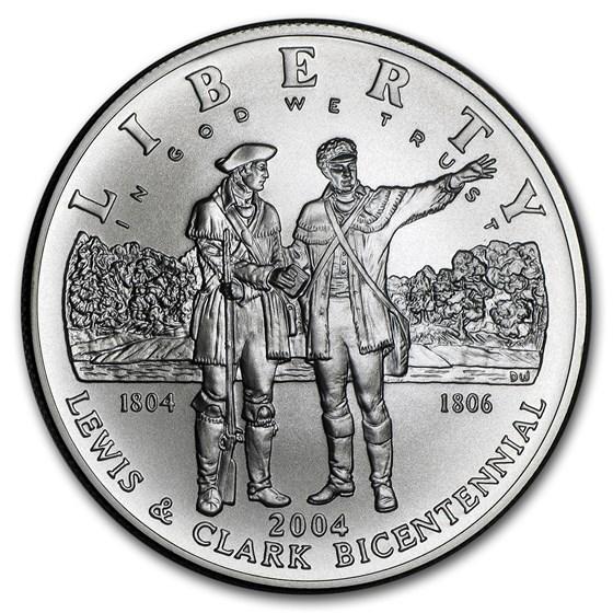 2004-P Lewis & Clark Bicentennial $1 Silver Commem BU (Box & COA)