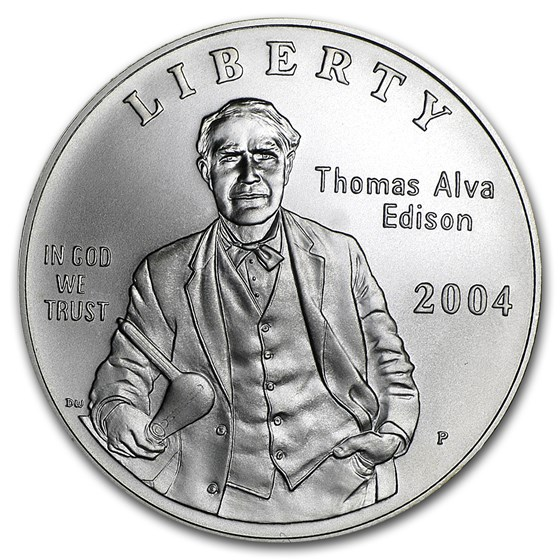 2004-P Thomas Edison $1 Silver Commem BU (w/Box & COA)