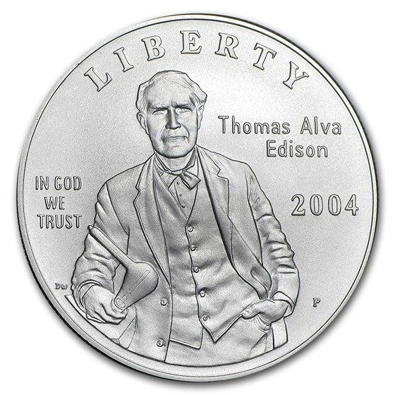 2004-P Thomas Edison $1 Silver Commem Collector Set BU (w/Light)