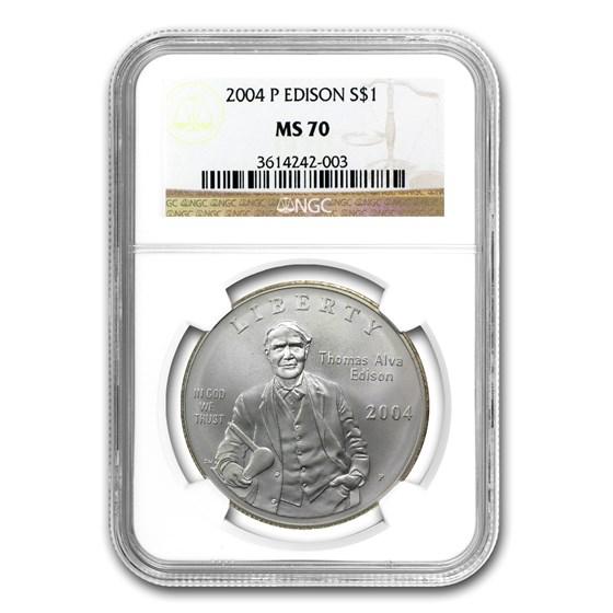 2004-P Thomas Edison $1 Silver Commem MS-70 NGC