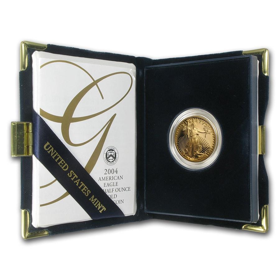 2004-W 1/2 oz Proof American Gold Eagle (w/Box & COA)