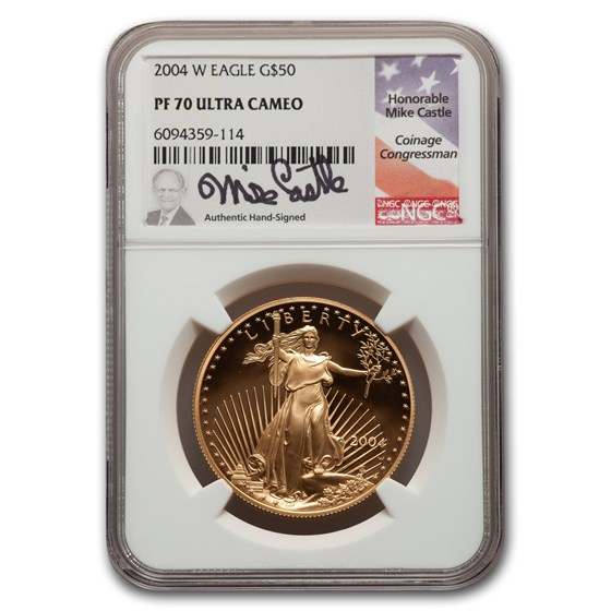 2004-W 1 oz Proof American Gold Eagle PF-70 NGC (Castle Label)