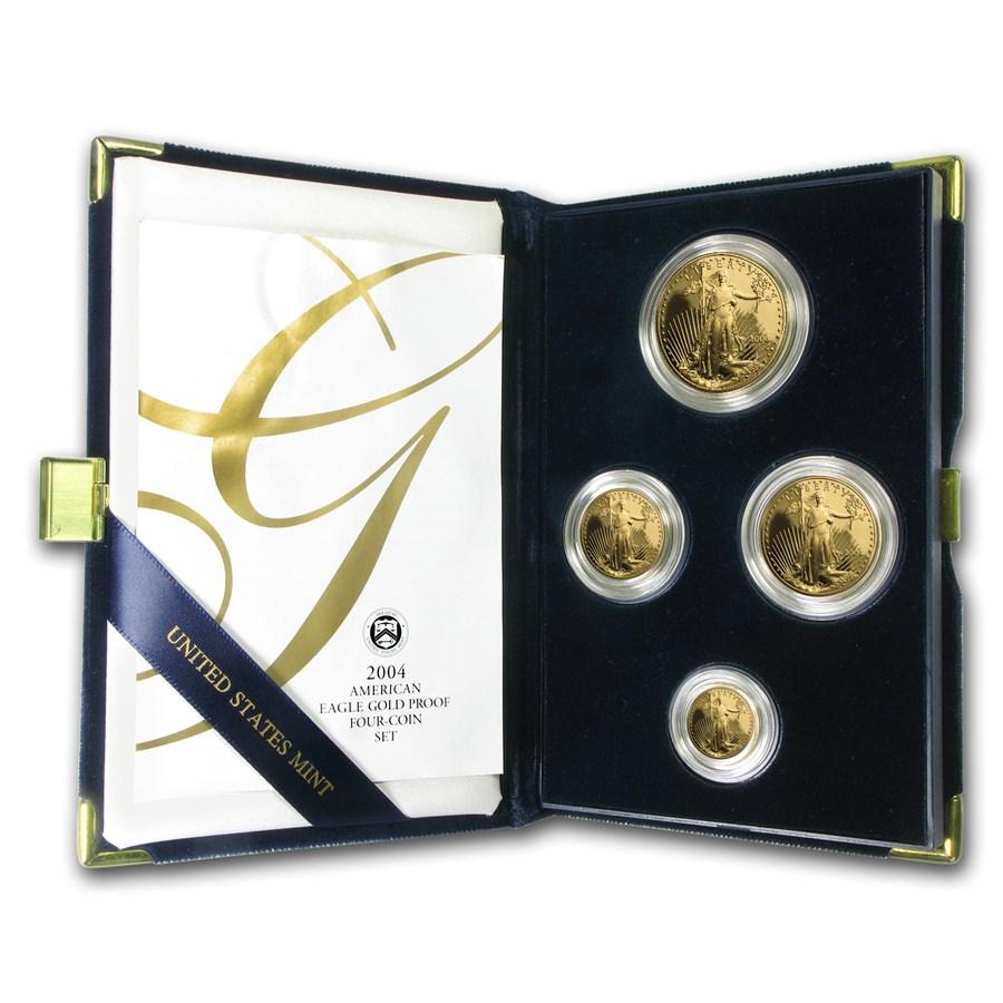 2004-W 4-Coin Proof American Gold Eagle Set (w/Box & COA)