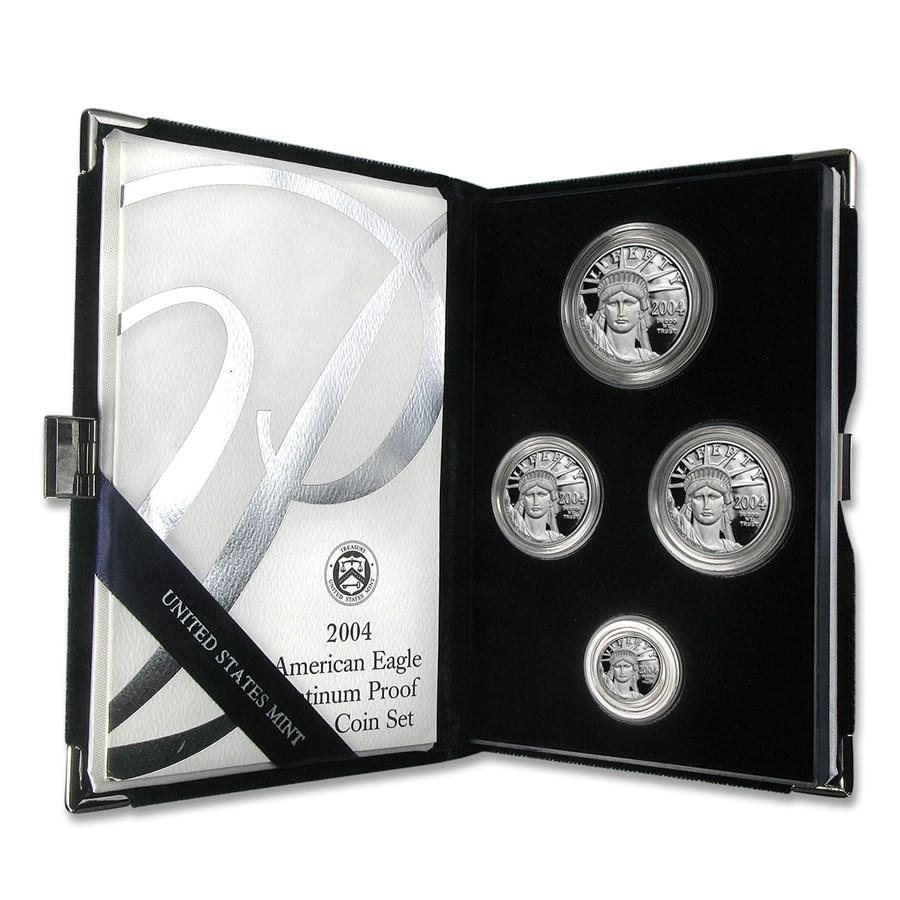 2004-W 4-Coin Proof American Platinum Eagle Set (w/Box & COA)