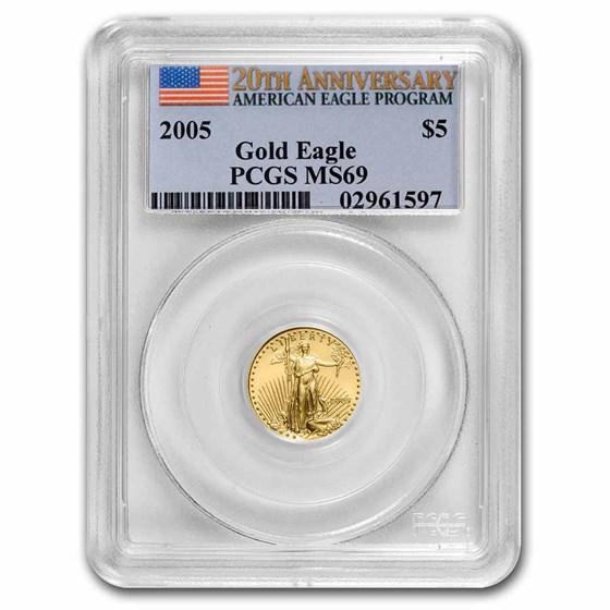 2005 1/10 oz American Gold Eagle MS-69 PCGS (20th Anniv)