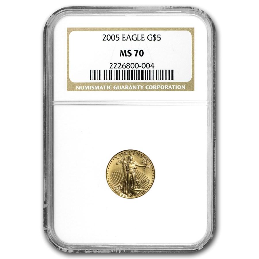 2005 1/10 oz American Gold Eagle MS-70 NGC