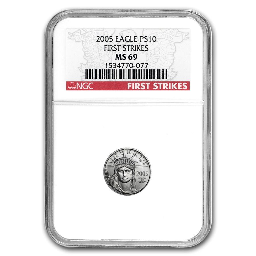 2005 1/10 oz American Platinum Eagle MS-69 NGC (First Strikes)
