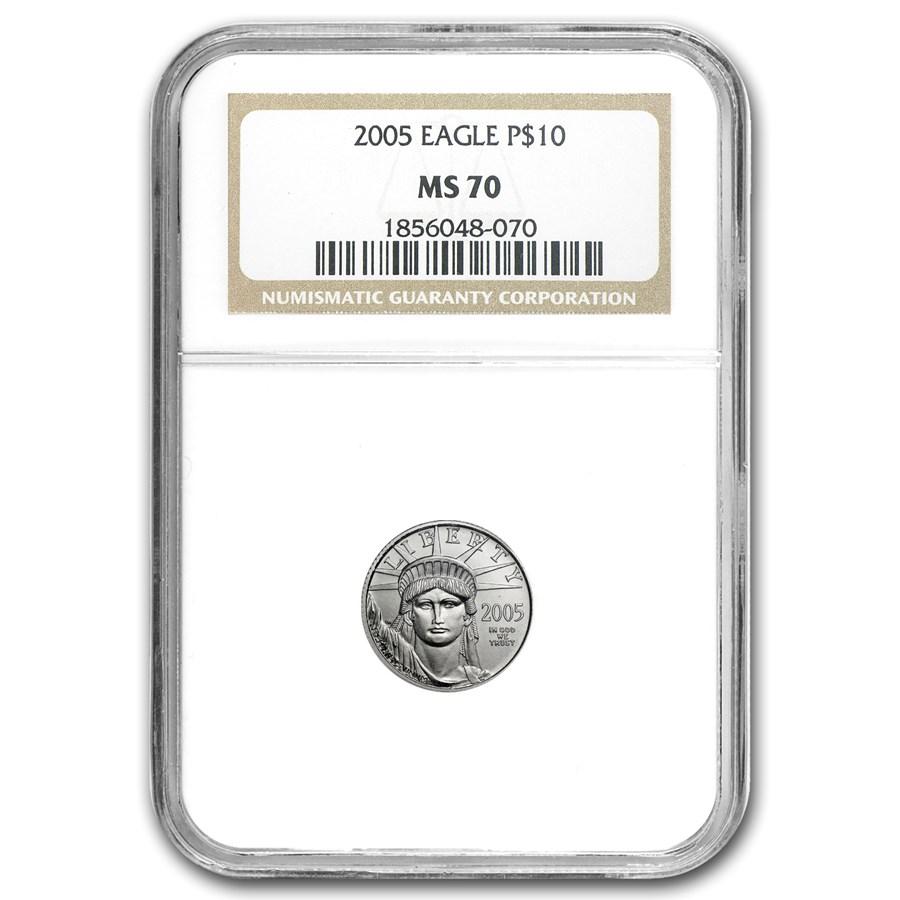2005 1/10 oz American Platinum Eagle MS-70 NGC