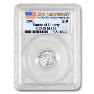 2005 1/10 oz Platinum American Eagle MS-69 PCGS (20th Anniv)