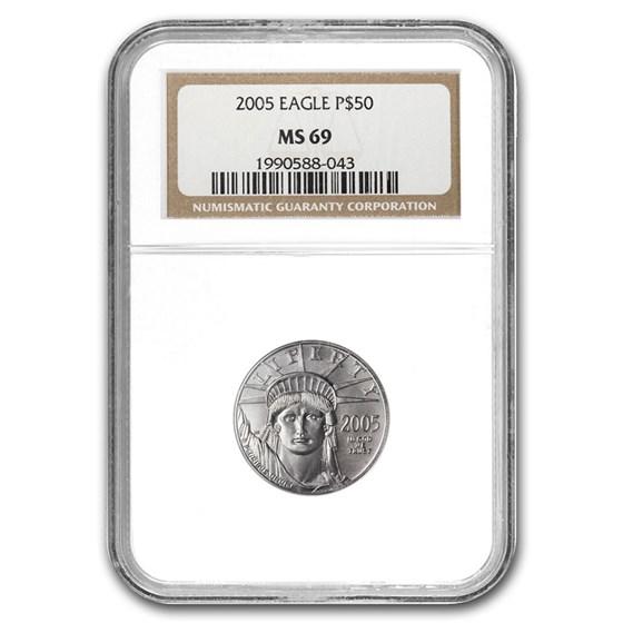 2005 1/2 oz Platinum American Eagle MS-69 NGC