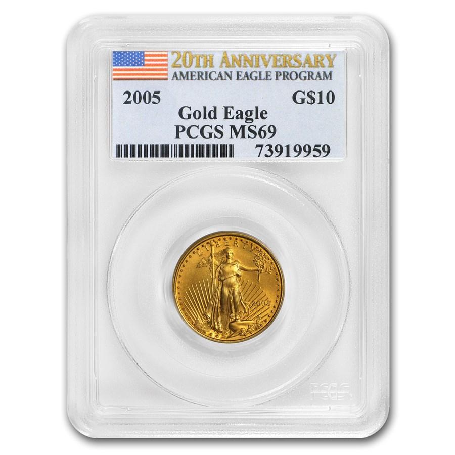 2005 1/4 oz Gold American Eagle MS-69 PCGS (20th Anniv)