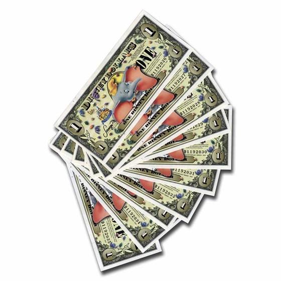 2005 $1 Disney Dollar 50th Ann Dumbo CCU (10 Consecutive Notes)