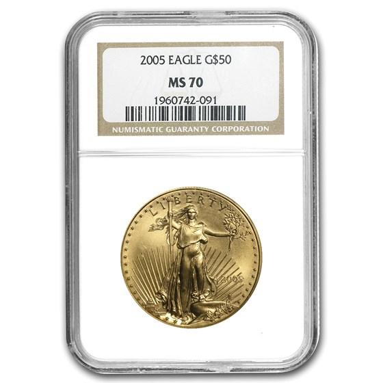 2005 1 oz American Gold Eagle MS-70 NGC