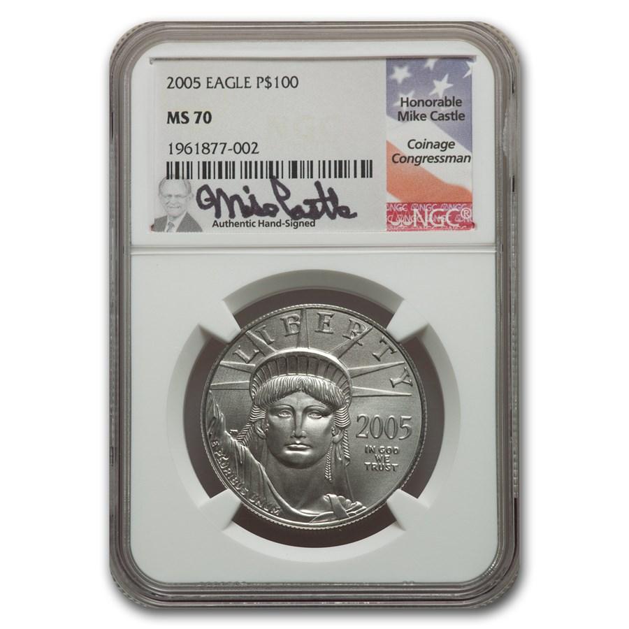 2005 1 oz American Platinum Eagle MS-70 NGC (Castle)