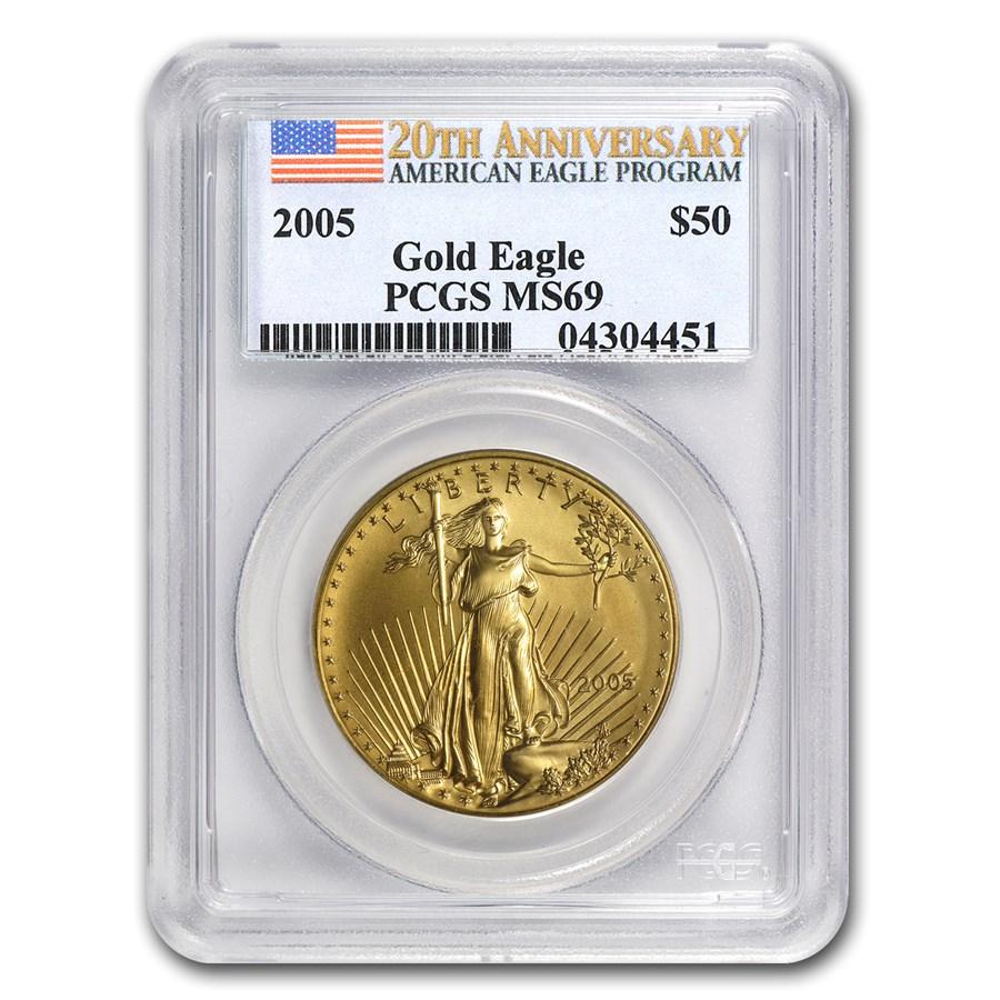 2005 1 oz Gold American Eagle MS-69 PCGS (20th Anniv)